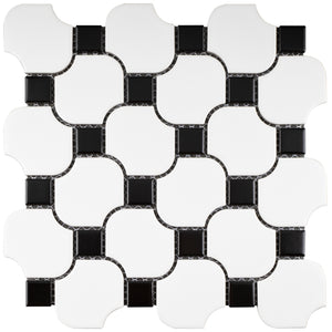 TPMG-18 Black and White Pinwheel Porcelain Mosaic Tile (Matt)