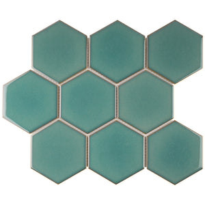 TPMG-28 4 x 4 Hexagon Crystal Green Porcelain Mosaic (Polished)