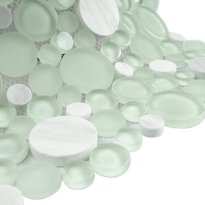 TBUBWG-01 Random Circle Glass Mix Stone Mosaic Tile in Mint Green and White