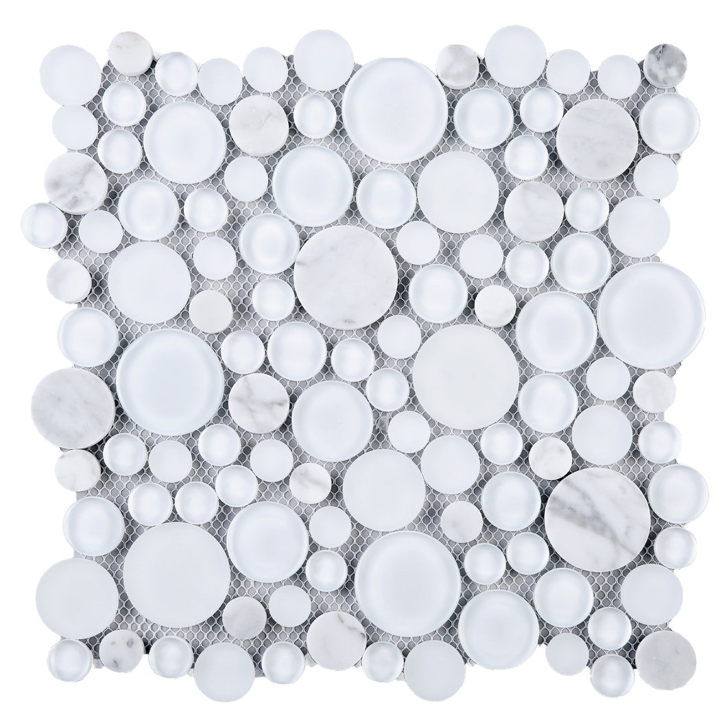 TBUBWG-02 Random Circle Glass Mix Stone Mosaic Tile in White