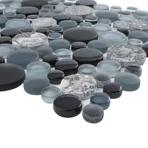 TBUBWG-03 Random Circle Glass Mix Stone Mosaic Tile in Black/Grey