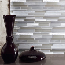 TBVSG-01 Linear Aluminum and Glass Mosaic Tile Sheet in Brown and Silver