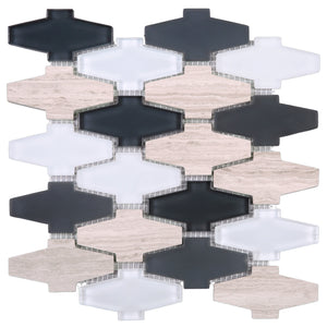 TCDNG-02 Irregular Shape Glass and Stone Mosaic Tile in Beige/Grey/White