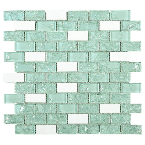 TCESG-02  1x2 Brick Crackled Glass Mosaic Tile in Mint Green/White