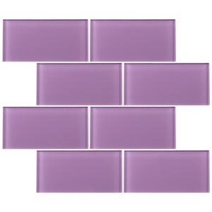 TCSAG-13 3x6 Purple Glass Subway Tile -Kitchen and Bath Backsplash Wall Tile