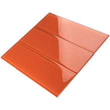 TCSBG-11 Fire Orange 4x12 Glass Subway Tile