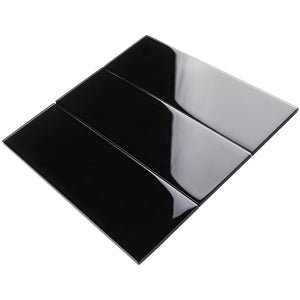 TCSBG-04 4x12 Black Glass Subway Tile
