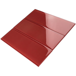 TCSBG-08 4x12 Red Glass Subway Tile