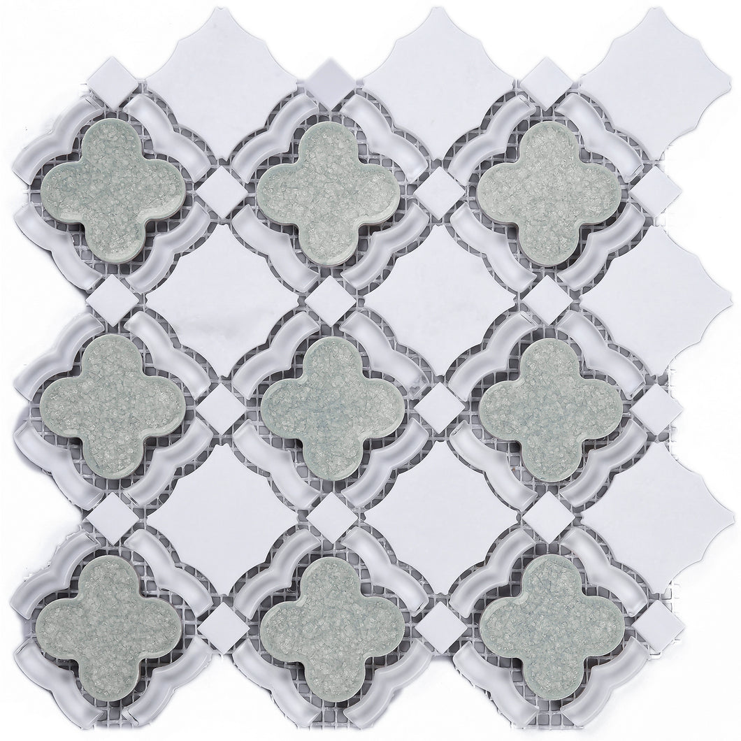 TDAIYG-01B White Carrara Stone and Green Crackled Glass Flower Mosaic Tile in White and Grey