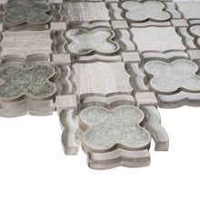 TDAIYG-02 Wooden Grey Stone and Green Crackled Glass Flower Mosaic Tile