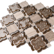 TDAIYG-03 Wooden Beige Stone and Brown Crackled Glass Flower Mosaic Tile