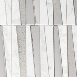 TDLG-02 Irregular Triangle White Cararra Stone and Silver Glass Mosaic Tile Backsplash