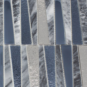 TDLG-03 Irregular Triangle Grey Stone and Metallic Glass Mosaic Tile Backsplash