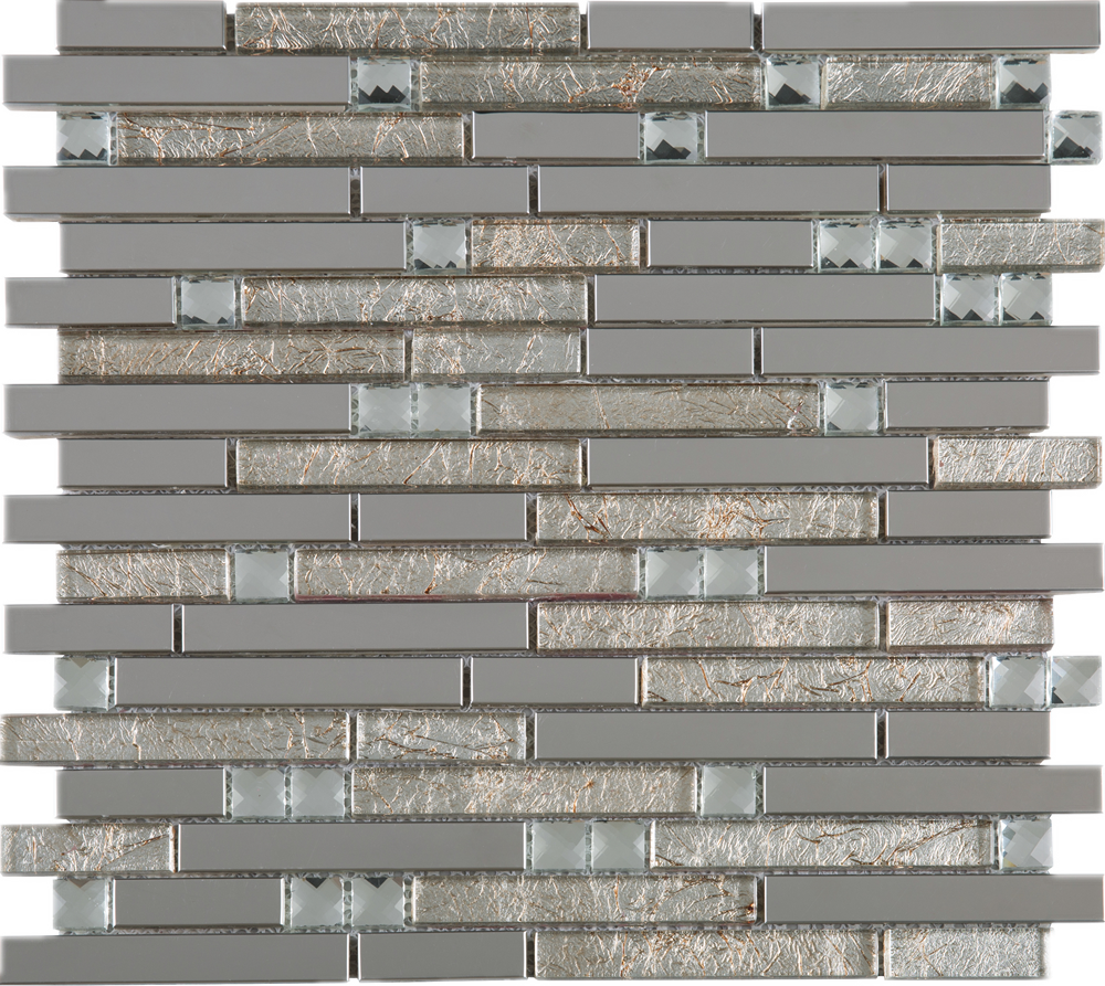 TDSSG-01 Metal Foil Glass with Stainless Steel Mosaic Tile Sheet