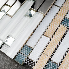 TDSSG-02 White Glass and Crystal with Stainless Steel Mosaic Tile Sheet