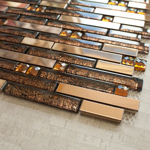 TDSSG-03 Brown Metal Foil Glass with Stainless Steel Mosaic Tile Sheet