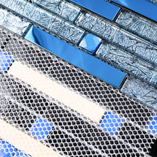 TDSSG-04 Blue Foil Glass with Blue Crystal and Blue Stainless Steel Mosaic Tile Sheet