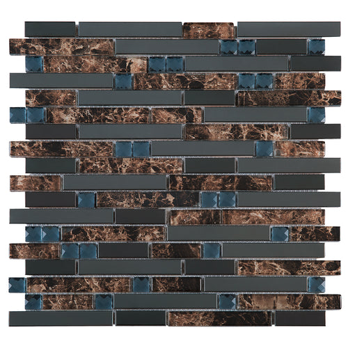 TDSSG-05 Black Stainless Steel with Brown Glass & White Crystal Diamond Glass Mosaic Tile