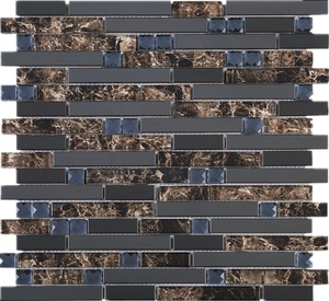 TDSG-05 Brown glass with crystal and stainless steel Brick Glass Mosaic Tile Sheet