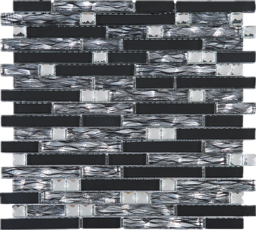 TDSSG-08 Black Grey Foil Glass with White Crystal and Black Glass Mosaic Tile Sheet