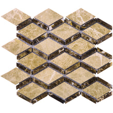 TEMPG-02 Double Dimaond Shape Stone Mosaic Tile in Brown/Beige