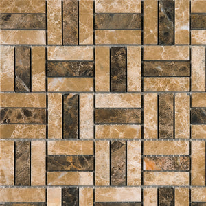 TEMPG-03 Basket Weave Crossing Stone Mosaic Tile in Brown/Beige