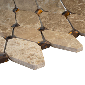 TEMPG-04 Long Dimaond Shape Stone Marble Mosaic Tile in Brown