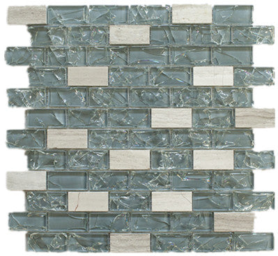 TESG-05 Dark Blue 1x2 Crack Glass Mosaic Tile Sheet Kitchen and Bath Backsplash Wall Tile