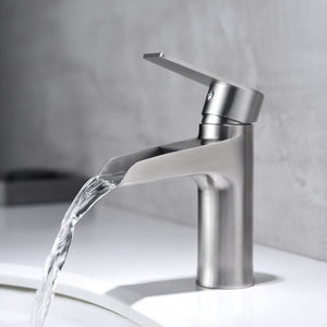 F6003-04 Luende Waterfall Modern Single-Handle Bathroom Faucet (Stain Nickel)