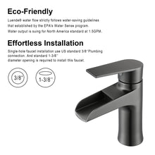 F6003-05 Luende Waterfall Modern Single-Handle Bathroom Faucet (Gun Black)