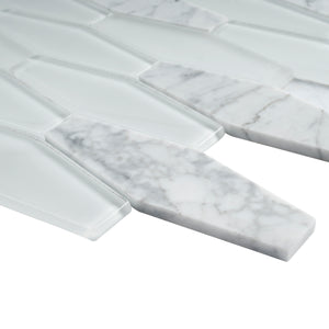 TFNG-01 Long Hexagon White Carrara Marble and White Glass Mosaic Tile