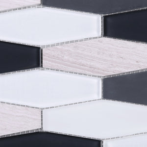TFNG-02 Oversize Long Hexagon Wooden Beige Marble and Black/White Glass Mosaic Tile Backsplash