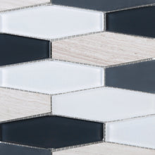 TFNG-02 Oversize Long Hexagon Wooden Beige Marble and Black/White Glass Mosaic Tile