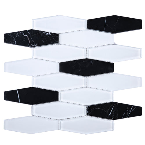 TFNG-03 Oversize Long Hexagon Black Marquina Marble and White Glass Mosaic Tile