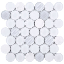 "TFUDOG-01 1.75"" White Circle Glass Mosaic Tile"