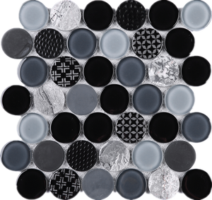 "TFUDOG-02 1.75"" Circle Glass Mosaic Tile Backsplash in White/Gray/Black"