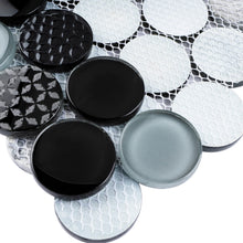 "TFUDOG-02 1.75"" Circle Glass Mosaic Tile in White/Gray/Black"