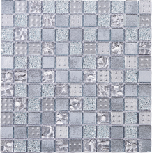 Silver glass mosaic tile 1x1 square penny tile backsplash