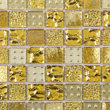 TGEMG-02 1x1 Square Gold Glass Mosaic Tile Sheet