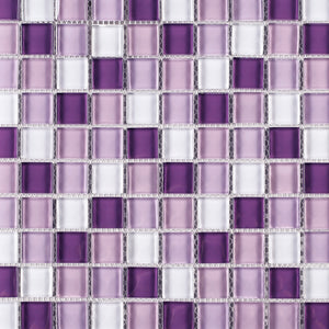 TGEMG-05 1x1 Square Purple Glass Mosaic Tile Sheet