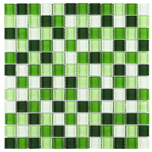 TGEMG-06 1x1 Square Green Glass Mosaic Tile Sheet