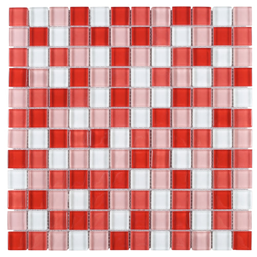 TGEMG-07 1x1 Square Red Glass Mosaic Tile Sheet