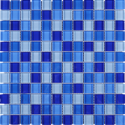 TGEMG-08 1x1 Square Blue Glass Mosaic Tile Sheet
