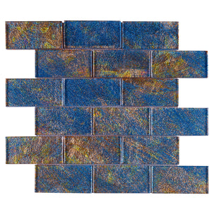 TGKG-02 Blue Galaxy 2x4 glass mosaic tile sheet subway tile