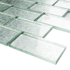TGKG-03 Silver 2x4 glass mosaic tile sheet subway tile