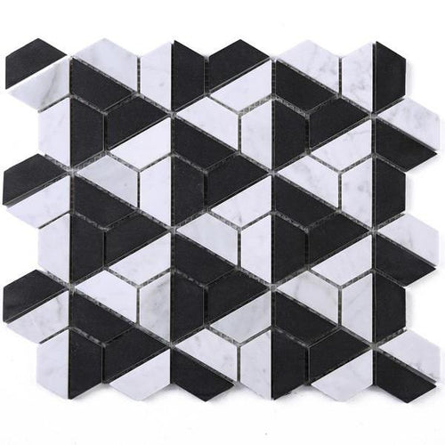TTHUNG-03 Black Marquina and White Carrara Hexagon Triangle shape Wheel Spin Marble Mosaic Tile