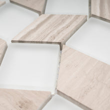 TGYG-03 Diamond Shape Glass and Stone Mosaic Tile in Beige/White