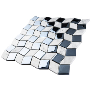 TGYG-04 Diamond Shape Glass and Stone Mosaic Tile in Black/White