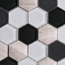TH3DG-02 3D Hexagon Honey Comb White and Black Glass and Wooden Beige Marble Mosaic Tile Sheet