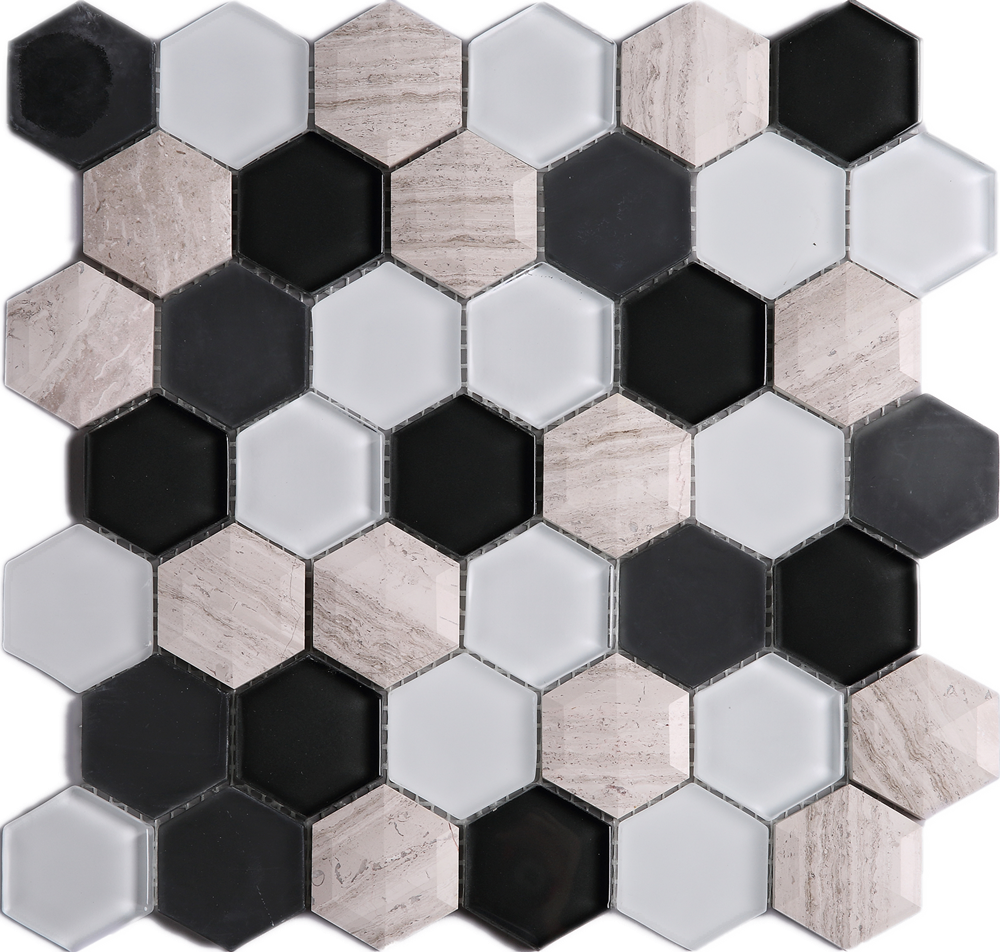 3D Hexagon Honey Comb White and Black Glass and Wooden Beige Marble Mosaic Tile Sheet